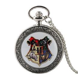 Woman Fans Australia - Newest Silver Harry Potter Hogwarts School of Magic Quartz Pocket Watch Exquisite Necklace Pendant Clock Gift for Men Women Fans