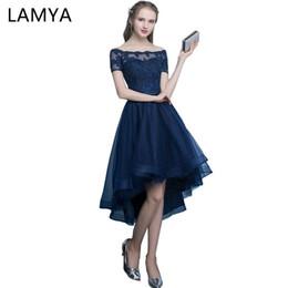 262687868a3 Lamya Sexy High Low Elegant Evening Party Dresses Princess Vestido De Festa  Lace Plus Size Short Front Long Back Fromal Gown Y19042701