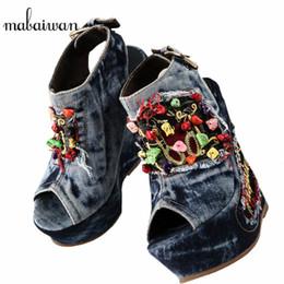 shoes stone sandals 2019 - Mabaiwan Designer Summer Wedge Shoes Woman Stone Flowers Decor High Heels Peep Toe Fashion Denim Sandals Platform Pumps