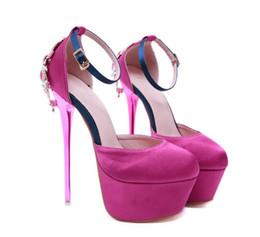 $enCountryForm.capitalKeyWord Australia - Pink rhinestone satin shoes fashion luxury designer women shoes platform ankle strap high heels pumps 16cm size 34 to 40