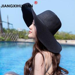 $enCountryForm.capitalKeyWord Australia - 2019 simple Women's white hat summer black oversized sunbonnet beach cap women's strawhat sun hat summer 56-58cm