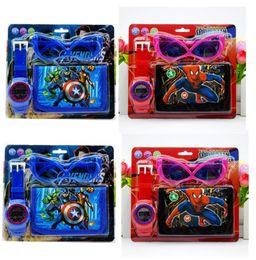 $enCountryForm.capitalKeyWord Australia - New Spiderman Avengers kids Sets toy watch wallet purse and glasses 3pcs set Christmas Children gift Boys Girls Cartoon watches