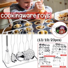 cookware toys 2019 - Kitchen Mini Cookware Cutlery Play Toys 13 19 23pcs Stainless Steel House Pots Tool Holder Soup Bucket Safe Reliable Coo