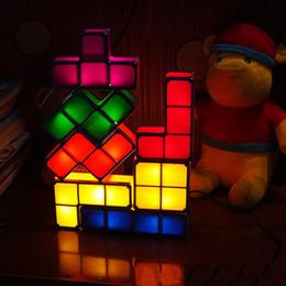 Kids Block Games Australia - Novelty DIY Toys Stackable Block LED Desk Lamp Light Retro Game Tower Blocks Night Light Kids Building Block Puzzle Lamp DH0813