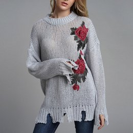 Wholesale Female Loose Knitted Floral Print O Neck Sweater Blouse Women s hand hook embroidery pullover wild sweaters chompas para mujer