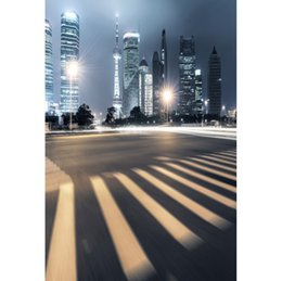photography backdrops night 2019 - Laeacco City Night Light Tall Building Crossing Scene Photography Backgrounds Customized Photographic Backdrops For Phot