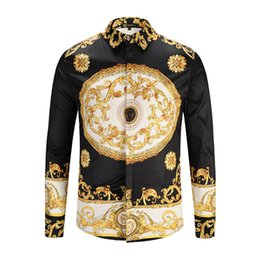 Mens Long Chains Australia - Luxury Flora Chain Print Mens Vintage Shirts Fashion Hot Mens Casual Tops Long Sleeve Designer Tees