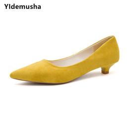$enCountryForm.capitalKeyWord NZ - Dress Shoes Yidemusha 2019 Spring Autumn Low Heels Women Pumps Office Lady Pointed Toe Flock Sexy Casual Wedding Sapato Feminino