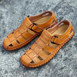 Beach Shoes 47 Australia - New Summer Men Sandals 2019 Leisure Beach Men Shoes High Quality Genuine Leather Sandals The Men's Sandals Big Size 39-47