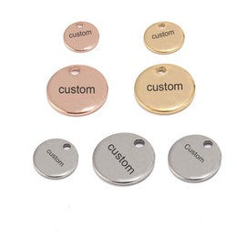 $enCountryForm.capitalKeyWord Australia - 304 Stainless Steel Rose Gold Coin Disc Charm Round Stamping Blank Tags Metal Jewelry Making Supply 8mm 10mm Custom Logo Words