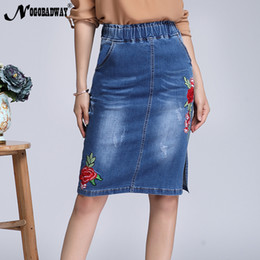 7f13a1a6ab Plus Size Stretch Waist Floral Embroidered Denim Skirts Women 2019 Spring Summer  Short Pencil Jeans Skirt Saias Casual Fashion T19053104