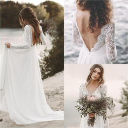 lace tops low back wedding dresses 2019 - Simple White Top Lace Cheap Country Beach Wedding Dresses 2019 V Neck Full Sleeve Chiffon Low Back Bohemian Bridal Gowns