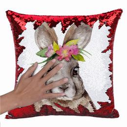 $enCountryForm.capitalKeyWord UK - Rabbit Printed Throw Pillow Case Easter Home Car Decor Sofa Cushion Cover USA