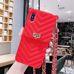 $enCountryForm.capitalKeyWord Australia - YunRT fashion 3D Square silicone wallet card package metal chain Lanyard phone case for iphone 6 6s 7 8 plus plus X cover funda