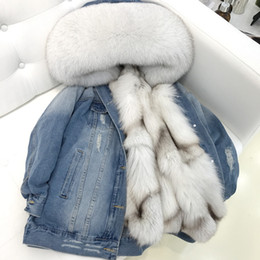 Wholesale fur collar denim jacket women for sale – winter 2019 Denim Parka Winter Jacket Women Real Fur Coat Natural Raccoon Fur Collar Real Thick Warm Liner Outerwear New
