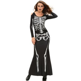 Discount cosplay women s long dresses - Maxi Dress Fashion Women Dress Skeleton Print Shoulder Cut Out Long Sleeve Floor-Length Halloween Cosplay Costume Party
