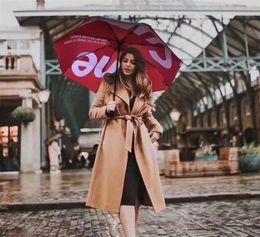 $enCountryForm.capitalKeyWord NZ - Creative New Umbrella Red & Black Design Fashion Couples Umbrella Europe And America Brand Print Umbrella With Gift Box