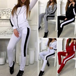 Knit Suits Wholesales Australia - 5sets Knitted Two-piece Casual Sports Suit Splice Hooded Long Tracksuit Running Outdoor Warm Suit Beam foot Slim Pant Zipper Suit S-XL HT257