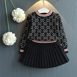 girls winter shirts for kids NZ - 2019 Girls Winter Clothes Set Long Sleeve Sweater Shirt and Skirt 2 Pcs Clothing Suit Spring Outfits for Kids Girl's Clothes