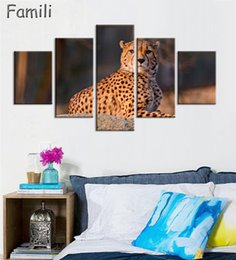 $enCountryForm.capitalKeyWord Australia - 5 Panel Walking Leopard Picture HD Printed Cheetah Canvas Wall Art for Home Decoration Gallery Wrapped Wild Animal Wall Poster