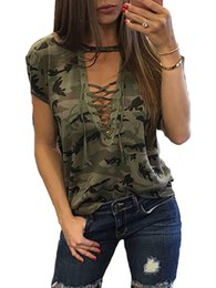 Ladies Camouflage Tops Australia - New Fashion Women Ladies Short Sleeve Camouflage Loose Blouse Summer Lace Up Casual Blouses Shirts Tops