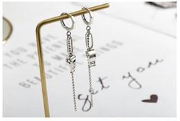 Thai earrings online shopping - Personality geometric bead chain S925 sterling silver earrings simple wild long tassel Thai silver earrings funny