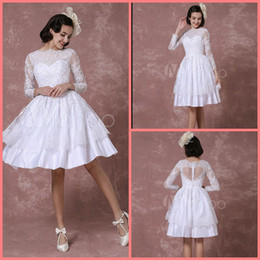 Hot Sexy White Dresses Australia - New designer white short knee length a line wedding dress 3 4 sleeve sheer back sexy white lace petite girls summer wedding gowns hot sale