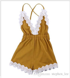 Wholesale 2017 Baby Girl Lace Jumpsuits Lovely Infant Girls V Neck Backless Suspender Shorts Toddler Lace One Piece Onesies cm Retail