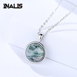 Discount unique sterling silver pendants - INALIS New Unique Statement Link Chain Charming Necklace S925 Sterling Silver Round Agate Pendant for Women Wedding Jewe