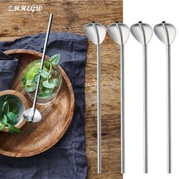 wholesale filter straws NZ - 6 Pcs Stainless Steel Metal Drinking Straw Reusable Straws Cocktail Spoons Set Eco-Friendly Spoons Straws Filtered Party Supply