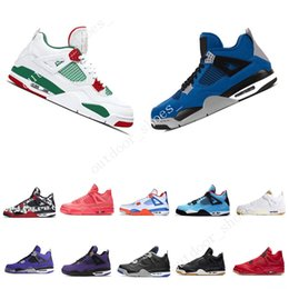 Cheap Plastic Cats Australia - Cheap 4 4s Men Basketball Shoes Motosports Blue Fire Red White Cement Pure Money Black Cat Bred Fear Pack Athletic Sports Sneakers trainers