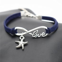 Navy Pendants NZ - Dark Navy Leather Suede Wrap Bracelet & Bangle Infinity Love Sea Star Starfish Pendant Accessories for Blessing Women Men Lucky Jewelry Gift
