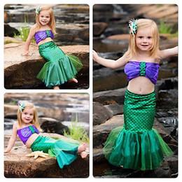 2017 linda caliente de los bebés del pequeño traje de baño bikini Set sirena vestido de traje de baño Trajes en venta