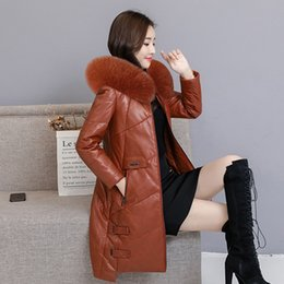 $enCountryForm.capitalKeyWord Australia - Winter Fashion Sheep Leather Coat 2018 New Women Long Fox Fur Hooded Leather Down Jacket Feminino Parka Overcoat