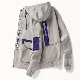 $enCountryForm.capitalKeyWord Australia - Men's zipper hooded overalls jacket Japanese streetwear armband patchwork biker vintage masculine jackets coats windbreaker men
