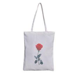 2a12eb4039 Cheap New Women Rose Shoulder Bag Large Tote Canvas Shoulder Bag Handbags  Casual Bags Pocket Shopping Bag Dropshipping