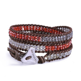 Discount multi cord bracelet - Multi-layered Crystal Beads Strand Bracelet 3 Wrap Leather Bracelet Bohemian Jewelry Gift for Women Girls Unisex Adjusta