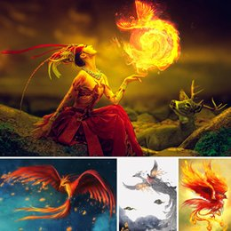 $enCountryForm.capitalKeyWord Australia - Diamond Painting Phoenix Fire Full Square 5d Diy Diamant Painting Deer Animal Dimond Embroidery Cartoon Girl Home Decor Gift X41