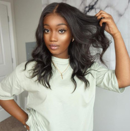 Beautiful Black Wave Hair Australia - Beautiful fashion African American long loose wave wigs brazilian hair Simulation Human Hair loose Wave Wig middle part