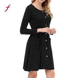 Feitong 1pcs Women S Dresses Ladies Button Pockets Casual Long Sleevel Mini Dress  Paty Dress Decoration Dresses Woman 2019 aa342d3f1704