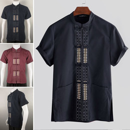 chinese collar suits men Australia - INCERUN Summer Men Printed Short Sleeve Button Streetwear Elegant Casual Tang Suit Stand Collar Chinese Style Baggy Shirt 5XL