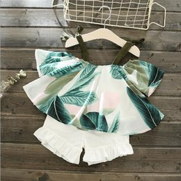$enCountryForm.capitalKeyWord NZ - 2019 new Girl Printed Top Girls'Westernized Suit Summer 1-4 Year Old Babies' Shorts One-Word Shoulder T-shirt Two-piece Suit