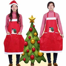 Wholesale aprons dresses for sale - Group buy Red Christmas Pattern Kitchen Restaurant Aprons Cleaning Apron Dress Gifts Unisex CHF