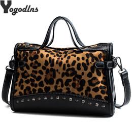 Hand Bags Leopard Prints Australia - hot Rivet Chain Bags Faux Leather Suede Cross Body Bags For Women Velvet large Hand Bag Leopard Print Shoulder Handbags
