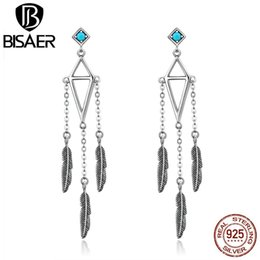 $enCountryForm.capitalKeyWord Australia - BISAER Authentic 925 Sterling Silver Vintage Boho Blue Feather Long Dangle Earrings for Women Holiday Retro Drop Earing GXE529