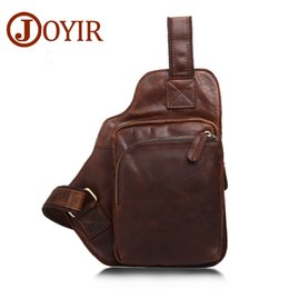 small handbags for man Canada - Vintage Men Chest Crazy Horse genuine Leather designer bags handbags tote Crossbody Pack Small Shoulder for Male Belt Man New brown Limited