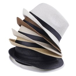 Straw Derby Stingy Australia - Cheap Vogue Men Women Hat Kids Children Straw Hats Cap Soft Fedora Panama Belt Hats Outdoor Stingy Brim Caps Spring Summer Beach