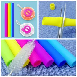 Keychain set online shopping - fashion Reusable Silicone straw Drinking Straw Set Keychain Straw With Cleaning Brushes Box Straight Straws Juice Straws barwareT2I5532