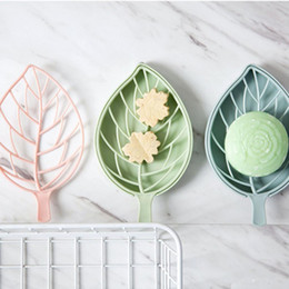 Plastic Pink Containers Australia - Lot Double wall Plastic Leaf shape Soap Dishes Soap Tray Holder Storage Soap Rack Plate Box Container for Bath Shower Bathroom Orginager