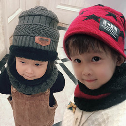 d92d5a76b0c24 Winter boys Hats set Kids Hats+Ring 2pcs Children Hand Knitted Caps  Children Scarves Boys Hats Beanies Kids Scarf Boys Caps A3072
